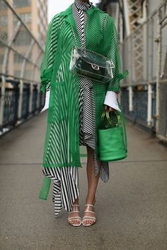 Blair Eadie wearing a green translucent trench and clear mules by Zara // Striped dress by Monse // Green bucket bag by Simon Miller // Clear bag by Chanel // Click through to Atlantic-Pacific for more clear and translucent spring picks Fashion Mode, Fast Fashion, High Fashion, Fashion Outfits, Womens Fashion, Fashion Trends, Fashion Updates, Uk Fashion, Green Fashion