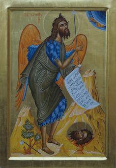 Ο Άγιος Ιωάννης ο Πρόδρομος αυγοτέμπερα στιλβωτό χρυσό