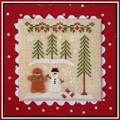 Gingerbread Boy and Snowman is the title of this cross stitch pattern from Country Cottage Needleworks that is the seventh release in the Gingerbread Village Series. The cross stitch pattern is stitched with Classic Colorworks