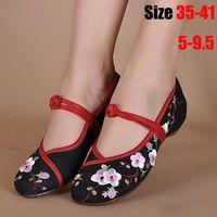 Toile De Fleurs Chaussures Bouton Chinois 7uftlTExiz