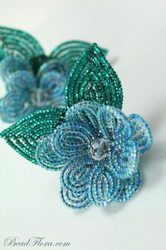 Tiffany shoe clips French beaded flowers