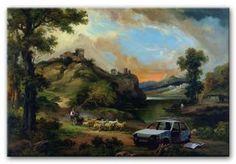 Banksy Car Wreck Canvas Print   Modern Canvas Art