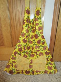 Classic Spring Time  Reversible Apron With Sunflower and Bumble Bee Pockets On One Side And Beautiful Flowers And lace On Other Side by MonkeyCatBoutique on Etsy