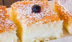 Magic Cake – one simple thin batter, bake it and voila! You end up with a 3 layer cake, with a delicious custardy layer in the center. Magic Cake Recipes, Sweet Recipes, Dessert Recipes, Desserts, Greek Sweets, Custard Cake, Cake Mixture, Cooking Cake, Pureed Food Recipes