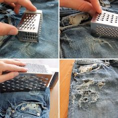 DIY HOW TO RIP JEANS AND LEAVE THE WHITE THREAD - YouTube | sewing