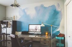 Blue Watercolor Mural by Anewall Photo: Kelsey Goodwin