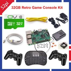 52Pi 2017 Raspberry Pi 3 Model B 32GB RetroPie Game Kit with Wireless Controllers Gamepad Power Supply 5.1V 2.5A Charger Adapter