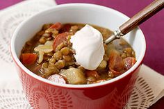 Savor Lentil Soup during cold months or year-round. This lentil soup is made even heartier with the addition of bacon & thickly sliced OSCAR MAYER Wieners. Kraft Recipes, Bean Recipes, My Recipes, Crockpot Recipes, Dinner Recipes, Cooking Recipes, Favorite Recipes, Kraft Foods, Recipies