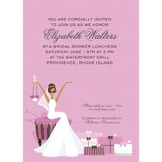 African-American Glamour Bridal Shower Invitations African American bride with white dress sitting toasting holding wine glass & purse with gifts nearby