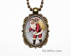 Santa Claus Necklace, Christmas Jewelry, Bronze Pendant, Stocking Stuffer Gift Christmas Necklace, Christmas Jewelry, Bronze Pendant, Santa, Pendant Necklace, Trending Outfits, Unique Jewelry, Handmade Gifts, Etsy