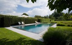 Perpendicular beds of ornamental grasses and a tall hedge maintains privacy and segregates the pool. By Wirtz International Pool Cabana, Outdoor Swimming Pool, Landscape Design, Garden Design, Townhouse Garden, Garden Of Earthly Delights, Swimming Pool Designs, Backyard, Gardens