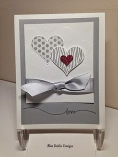 hand crafted card; Blue Dahlia Designs: Groovy Love Valentine ... shades of gray ... Stampn' Up!