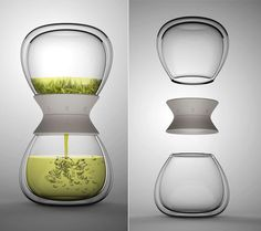Hourglass Tea maker by Pengtao Yu. Has a dial to set steeping times for loose…