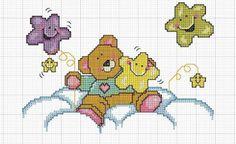 Gráficos de Ponto Cruz: Ponto cruz bebê gráfico lua e estrelas
