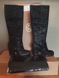 $385 NEW ASH DOUGLAS BLACK KNEE HIGH BOOT HEEL BOOTS US 8 EU 38 STYLE 340702…