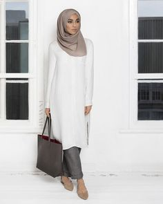 Long White Rayon Shirt (Fully Lined) Light Flint Crepe Hijab Grey Linen Blend Trousers (Available in Blue)  SHOP ONLINE: www.inayahcollection.com