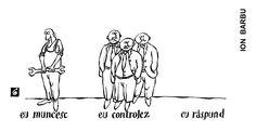 """EU MUNCESC""; ""EU CONTROLEZ""; ""EU RASPUND"" Caricatura de ION BARBU, publicata in almanahul PERPETUUM COMIC '97 editat de URZICA, revista de satira si umor din Romania"