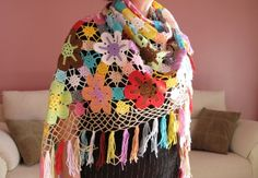 Great Colored Flowers Crocheted Triangle Shawl  OOAK  by nezoshop, $165.00