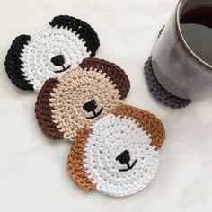 Dog coasters - Dog lover gift - Beverage coasters - Dog mom gift - Crochet coasters - Pet coasters - Knitting For BeginnersKnitting HatCrochet Hair StylesCrochet Amigurumi Crochet Kitchen, Crochet Home, Crochet Gifts, Cute Crochet, Crochet Baby, Knit Crochet, Crochet Coaster Pattern, Crochet Motif, Crochet Patterns