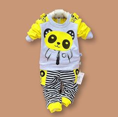 Cheap baby girl clothes, Buy Quality girl baby clothes directly from China baby girl Suppliers: 2017 Baby Girl Clothes and boys suit baby panda cartoon casual long-sleeved striped t-shirt + pants / set Kids Clothes Set Fashion Kids, Baby Boy Fashion, Suit Fashion, Fashion Clothes, Baby Outfits Newborn, Baby Boy Outfits, Kids Outfits, Baby Set, Disney Baby Clothes