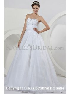 Organza Sweetheart Sweep Train Ball Gown Wedding Dress