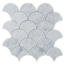 Carrara Fan Marble Mosaic - 12in. x 12in. - 100245554   Floor and Decor