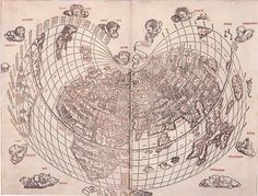 This 1511 World map by Bernard Sylvanus is one of the earliest known two-color cartographic works.