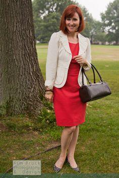 Coral #JCrew dress, #nanettelepore jacket