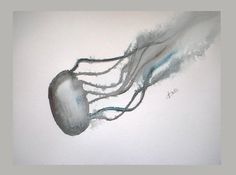 Jellyfish Original watercolor painting Black and by VESNAsART