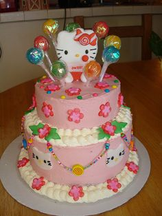 Hello Kitty Birthday Cakes, this is all i want for my bday Sweet Cakes, Cute Cakes, Yummy Cakes, Girly Cakes, Hello Kitty Birthday Cake, Hello Kitty Cake, Happy Birthday, Character Cakes, Sweet 16 Parties
