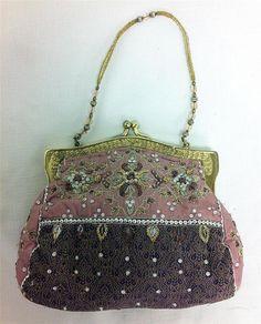 94041843aa930 Evening Bag Silk Pink   Brown Beaded Design Goldtone Christiana Made India   506