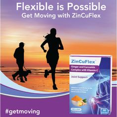 Flexible Is Possible with Zincuflex  ZinCuFlex® is a new health food supplement with proven benefits for joint health. Combining the power of Ginger, Curcumin and vitamin C, ZinCuflex® has been shown to support joint health. Vitamin C plays an essential role as it is recognised as helping to contribute to normal collagen formation and function of bones and cartilage Get Moving, News Health, Vitamin C, Collagen, Plays, Flexibility, Bones, Food, Games
