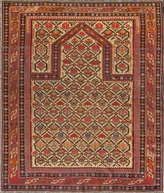 "KEIVAN WOVEN ARTS,  Type :Shirvan Origin :Caucasus  Size : 4'0""x4'10""   Circa :1880"