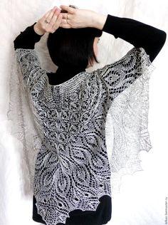 Купить Ажурная шаль вязаная Первоцвет Шаль спицами - шаль, шаль спицами, шаль ажурная
