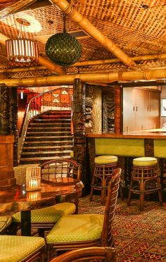 Trader Vic's, London..  Love the glass floater hanging up there. Is it a light fixture?  Love it.