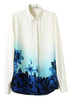 S-L New Women Print Chiffon Blouse Hot Sale Gradient Blue Flower Printed Shirt Korean Version Turn Down Collar Blouse Chiffon Floral, Print Chiffon, Chiffon Shirt, White Chiffon, Chiffon Fabric, Camisa Floral, Camisa Vintage, Style Floral, Europe Fashion