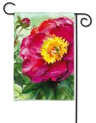 """This bright new Peony Summer design garden flag is 12.5"""" x 18"""" and is also available in a coordinating  magnetic mailbox cover, magnetic yard art and a  decorative doormat."""