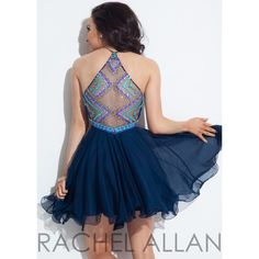 Rachel Allan 4013 Colorful Beaded High Neck Short Dress