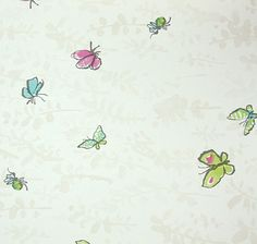 Butterfly Meadow Wallpaper Wonderful Quentin Blake designed wallpaper of Butterflies and other flying creatures in pinks, blues and greens on a light cream background