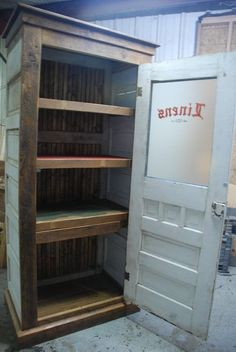 Linen cabinet made from old doors, leave out shelves & add a rod & use as a closet Old Door Projects, Furniture Projects, Home Projects, Diy Furniture, Furniture Removal, Furniture Stores, Kitchen Furniture, Furniture Design, Salvaged Doors