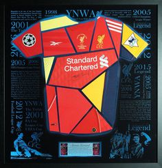 This limited edition, Steven Gerrard montage shirt display is made out of past trophy winning shirts - in a box display with LED lighting. This piece is sooo good, Steven Gerrard bought one for his own collection!