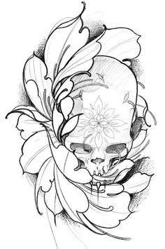 Эскиз тату с черепом и цветком