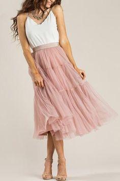 Alicia Dusty Rose Tulle Midi Skirt