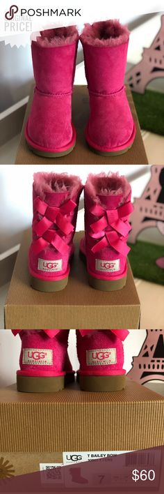 UGG Hot Pink Bailey Bow II Boots 60% Off original price. Toddler plush sheepskin, bows up the back hot pink ugg boots. Never worn! UGG Shoes Baby & Walker