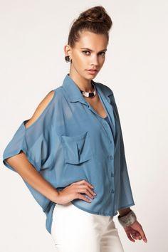 Milla By Trendyol Kolları Pencereli Şifon Gömlek Women's Fashion, Fashion Trends, Sleeve Styles, Blouses, Street Style, Couture, Stitch, My Style, Shirts