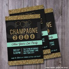 New Years Invitation Glitter New year Printable by CakePrintShop, $15.30- obviously make for a wedding not NYE