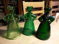 My collection of Eryka Trzewik - Drost Vintage Green Glass, Glass Candlesticks, The Collector, Vintage Items, Good Things, Antiques, Poland, Ebay, Collection