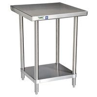 inexpensive and sleek. I like it.  Regency 16 Gauge All Stainless Steel Commercial Work Table - 24 inch x 30 inch with Undershelf