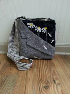 Grey crossbody bag, hip purse, felted, upcycled, grey wool,houndstooth,black polka dot,felted daisy