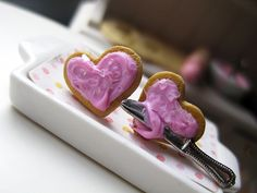 Valentine's Strawberry Heart Cookies Stud Earrings _ Dollhouse Scale Miniature Food _ Polymer Clay _ Foodie Gift by MarisAlley on Etsy Strawberry Hearts, Heart Cookies, Strawberries And Cream, Freshly Baked, Miniature Food, Tarts, Cookie Recipes, Polymer Clay, Scale